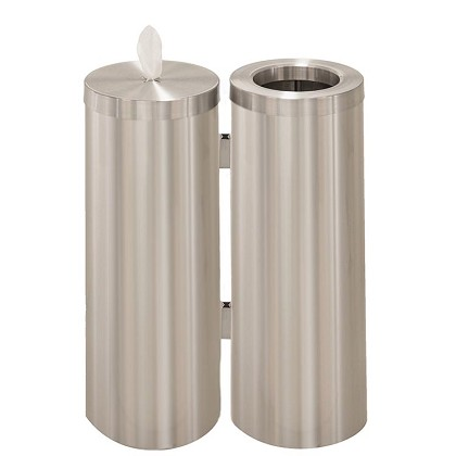 Wipe Dispenser w/Storage and Trash Receptacle Combo Station in Satin Aluminum
