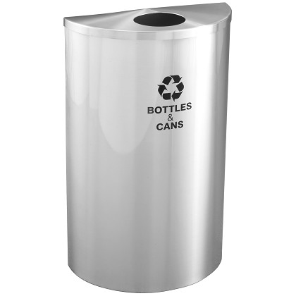 Glaro Half-Round Recycling Container in Satin Aluminum
