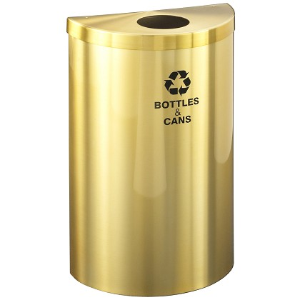 Glaro VALUE SERIES Half-Round Recycling Container in Satin Brass 16 Gallon