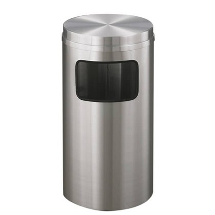 New Yorker Waste Receptacle with Flat Top in Satin Aluminum - 10 Gallon