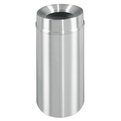 New Yorker Waste Receptacle with Funnel Top in Satin Aluminum - 33 Gallon