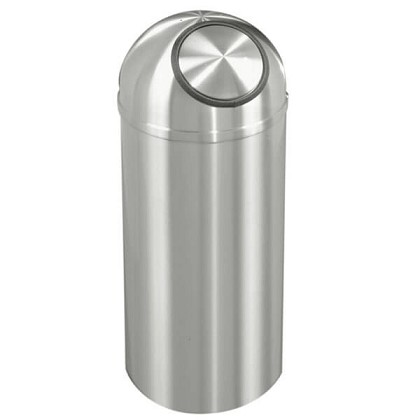 New Yorker Waste Receptacle with Self-Closing Dome-Top in Satin Aluminum- 12 Gallon