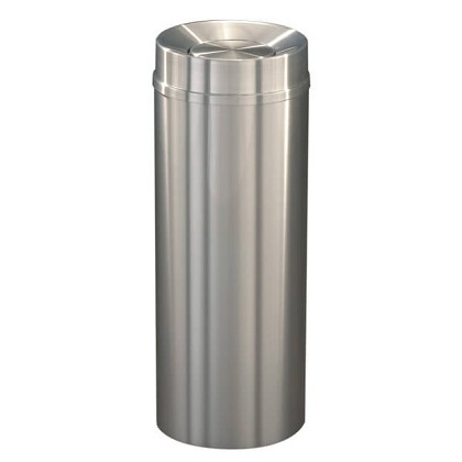 New Yorker Waste Receptacle with Tip Action Top in Satin Aluminum - 12 Gallon
