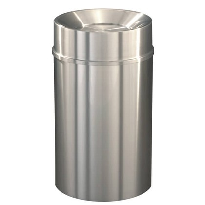 New Yorker Waste Receptacle with Tip Action Top in Satin Aluminum - 33 Gallon