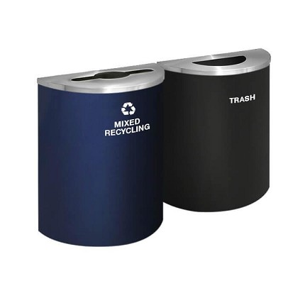 Glaro XL Half-Round Multi-Color Double Waste & Recycling Station
