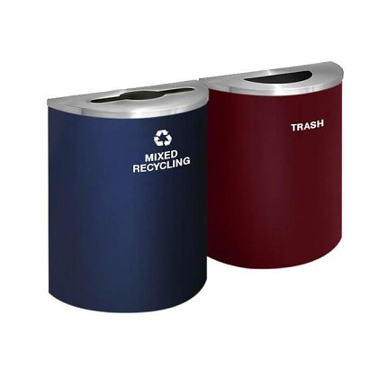 Glaro XL Half-Round Multi-Color Double Waste & Recycling Station - Custom