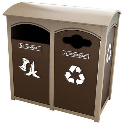 Amherst Sideload Double Recycling Station | Sunshine