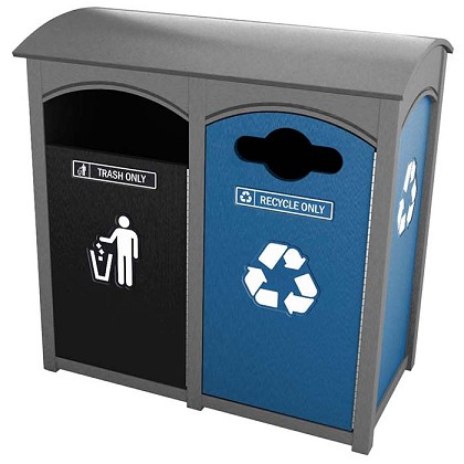 Amherst Sideload Double Recycling Station | Zephyr