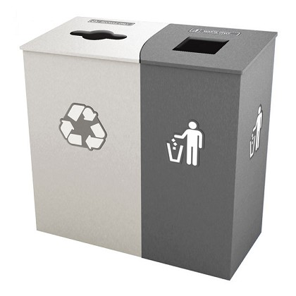 Claremont Double Recycling Station - White/Gray
