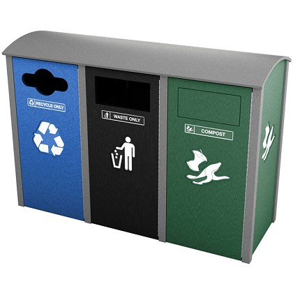 Manchester Sideload Triple Recycling Station - Custom