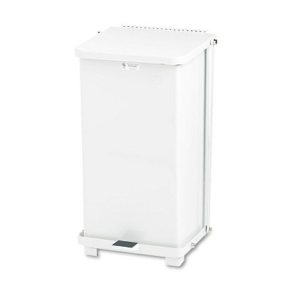 12 Gal Defenders Biohazard Square Steel Step-Can in White
