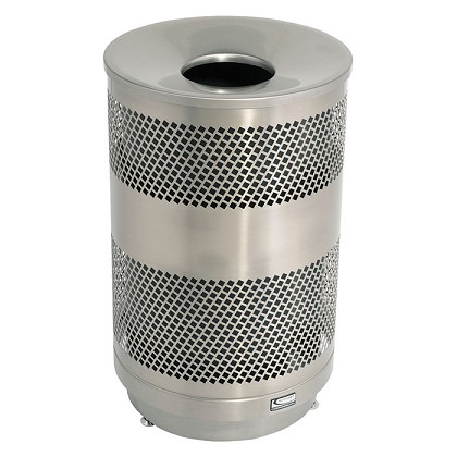 33 Gallon Outdoor Decorative Perforated Metal Trash Can