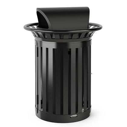 35 Gallon Slat Trash Can with Roto Molded Lid