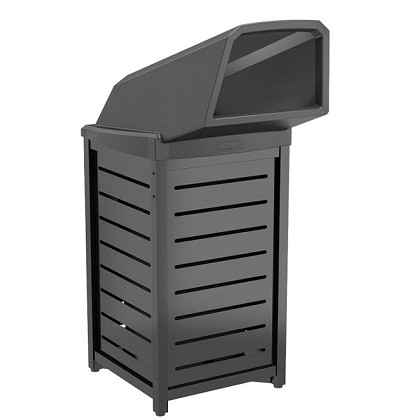30 Gallon Metal Square Trash Can with Chute Lid