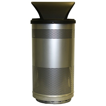 Stadium 35 Gallon Perforated Waste Receptacle with Hood Top