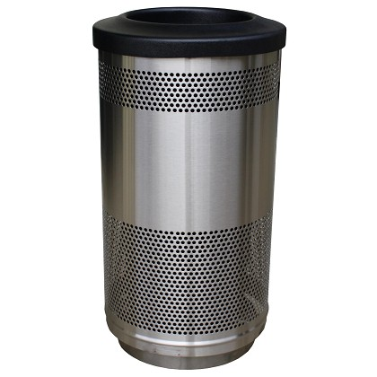 Stadium 35-Gal Waste Barrel in Perforated Stainless Steel