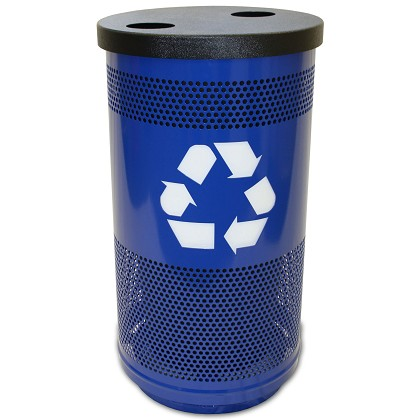 Stadium 35 Gallon Perforated Recycling Receptacle with Flat Top