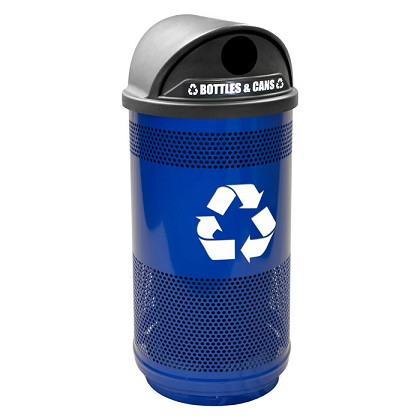 Stadium 35 Gallon Perforated Recycling Container with Hood Top