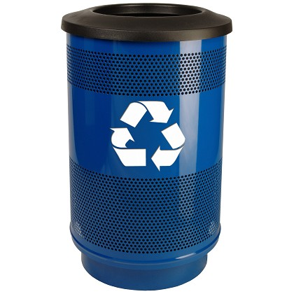Stadium 55 Gallon Perforated Recycling Receptacle with Flat Top