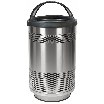 Stadium 55 Gallon Perforated Waste Receptacle with Hood Top in Stainless Steel