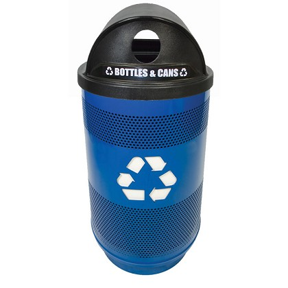 Stadium 55 Gallon Perforated Recycling Receptacle with Hood Top
