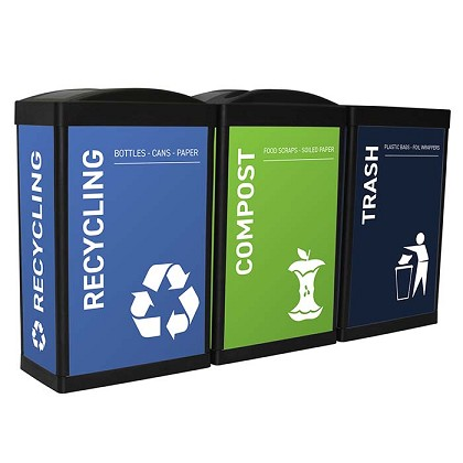 The Elite Ergocan Three-Stream Recycling Station - Custom