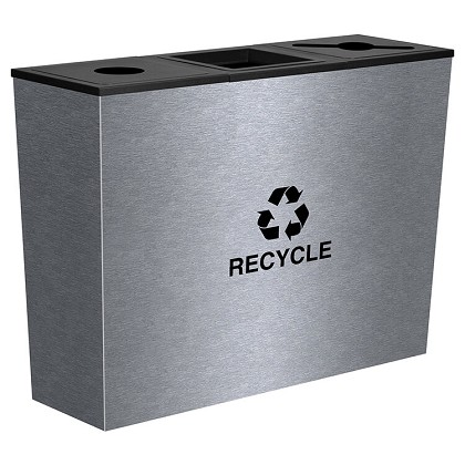 Metro Triple Stream Recycling Receptacles - Stainless Steel