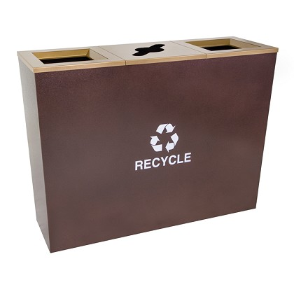 Metro Triple Stream Recycling Receptacle in Hammered Copper