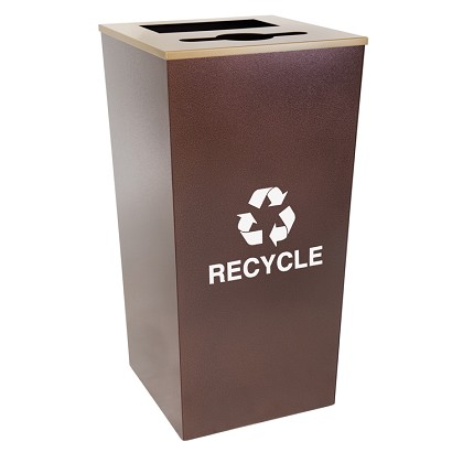 Metro XL Combo Recycling Receptacle in Hammered Copper