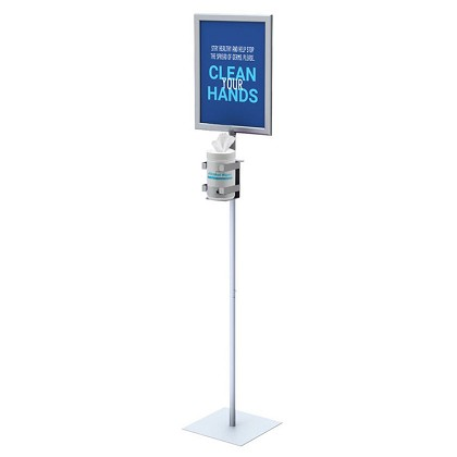 "Hand Wipe Dispenser Floor Stand with 11"" x 14"" Sign Frame"