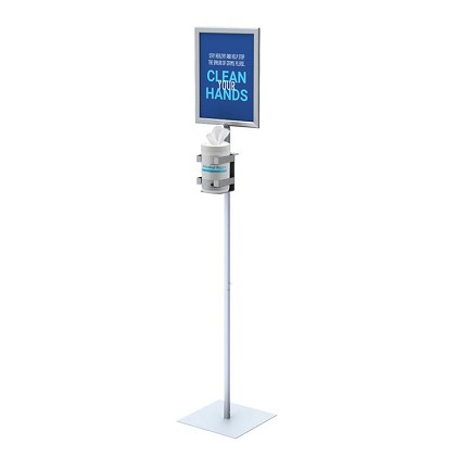 "Hand Wipe Dispenser Floor Stand with 8.5""  x 11"" Sign Frame"