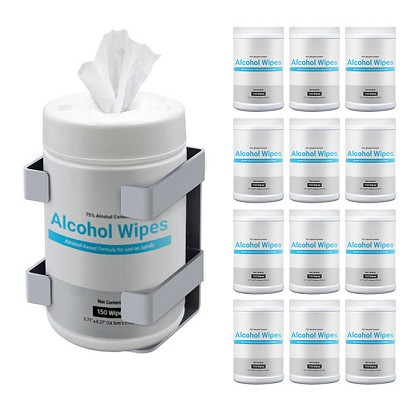 Wall Mounted Sani-Wipe Dispenser + 12-pack Wipes Canister Combo