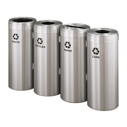 15-Gallon Glaro Four-Stream Recycling Station in Satin Aluminum
