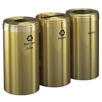 15-Gallon Glaro Three-Stream Recycling Station in Satin Brass