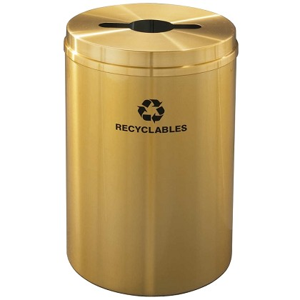 Glaro 33 Gallon Single Purpose Recycling Container in Satin Brass
