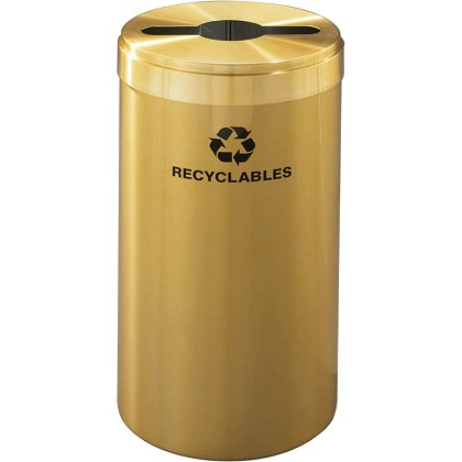 Glaro 15-Gallon VALUE SERIES Single-Purpose Recycling Container in Satin Brass