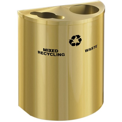 Glaro XL Dual-Purpose Half-Round Recycling Container in Satin Brass