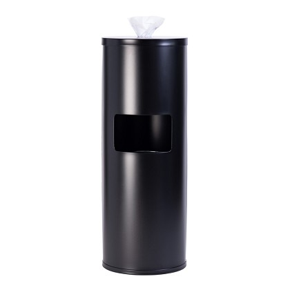 Steel Wipe Dispenser & Trash Receptacle in Black