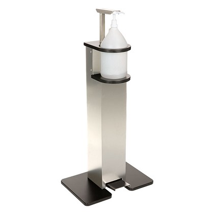 Foot Pump Operated Hand Sanitizer Station in Brushed Aluminum