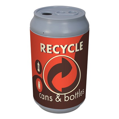 Big Can Recycler - 'Retro Orange' Cans & Bottles Recycling