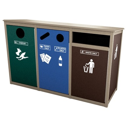 Keene Sideload Slim Quadruple Recycling Station