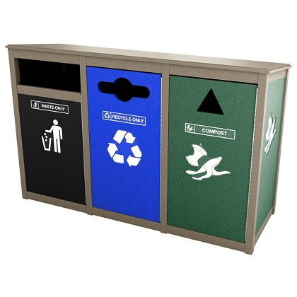 Keene Sideload Triple Recycling Station
