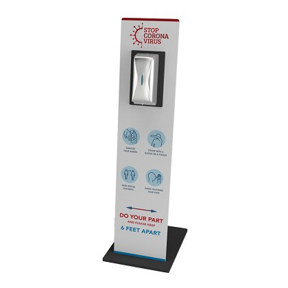 Sanitizer Stand - Graphic Display includes Bradley 6A00 Sanitizer Dispenser