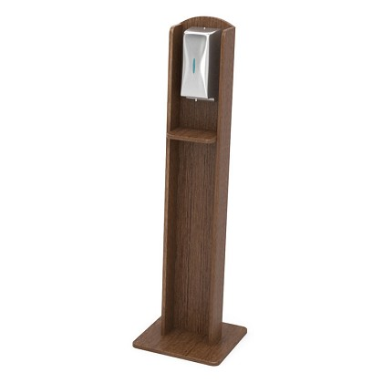 Nash Plastic Woodgrain Sanitizing Stand | Automatic Dispenser | Mahogany