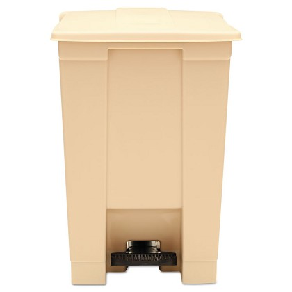 12 Gallon Commercial Step-on Square Waste Bin in Beige