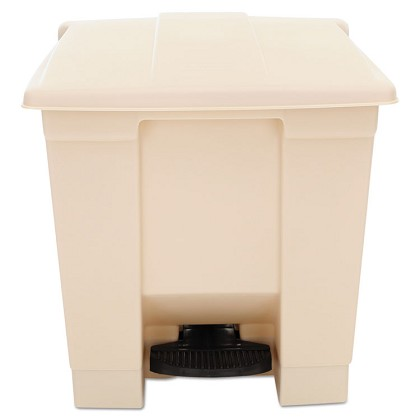 8 Gallon Commercial Step-on Square Waste Bin in Beige
