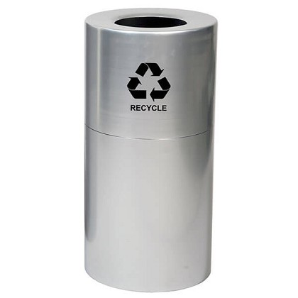 Aluminum Receptacle with Plastic Liner- 35 Gallon