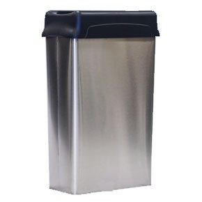 Modern Stainless Steel Rectangular Wastebasket with Drop-Top